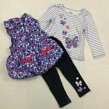 Kids Headquarters NWT Girls 2T Puffer Vest Swing Top Leggings Flowers 3 PC Set