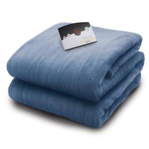 BIDDEFORD Twin Heated Blanket Luxurious Micro Plush Electric Warm Arrowhead Blue