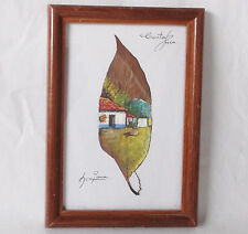 Costa Rica Landscape Painting On A Coffee Leaf Signed/Matted/ Framed Art-COG