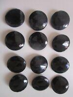 """Lot de 12 gros boutons haute couture  """"en verre noir taillés multi- facettes"""