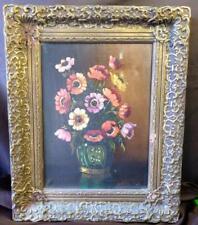 Antique Floral Still Life Art Oil Painting Portrait Flowers Vase Framed Signed