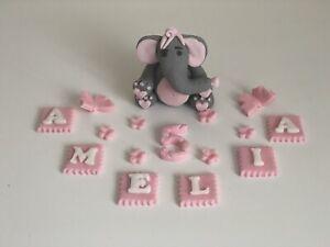 Elephant birthday christening girls personalised handmade edible 3D cake topper