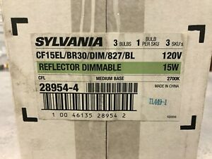 Sylvania CF15EL/BR30/DIM/827/BL Dimmable Compact Fluorescent Floodlights 3-PACK