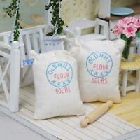 2pcs Bag Flour Sack w/ Wood Rolling Pin Miniature Food Reu Dollhouse 1:12 P5W5