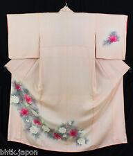 付け下げ着物 Tsukesage Kimono - Fleurs peintes - Made in Japan 1243