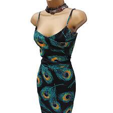 Karen Millen Satin Black Turquoise Peacock Print Wiggle Cocktail Dress 14 UK