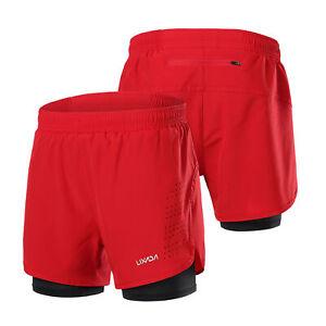Lixada Men's 2-in-1 Running Shorts Quick Drying Breathable Active Training C8J2