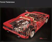 Ferrari Testarossa Cutaway Art - David Kimble. Out of Print Car Poster! Own It!