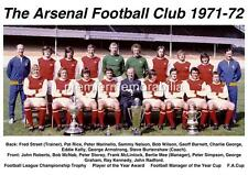 ARSENAL FC 1971-72 FA CUP & LEAGUE CHAMPIONS DOUBLE SQUAD EXCLUSIVE A4 PRINT