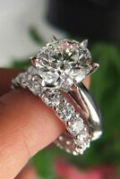 2 Carat Round Cut Diamond Halo Wedding Bridal Ring Set 14K White Gold Finish