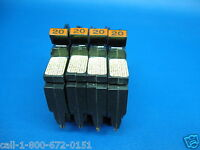 "4- 20A Federal Pacific NC 1/2"" Thin 20 Amp Single 1 Pole Stab-Lok Breakers"