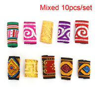 10Pcs/Lot Colorful Mix Fabric Hair Braid  Dreadlock Beads Rings Tube Jewelry  Gw