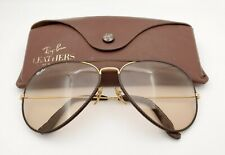Vintage B&L Ray Ban Bausch & Lomb Brown Changeables Leather Aviator 62mm w/Case