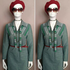 Vintage 1960's Long Sleeved Green Day Dress.Size 10/12.