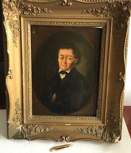 German Signed Identified Portrait Early 1800's Folky Man Oil Panel  - L2 EARLY