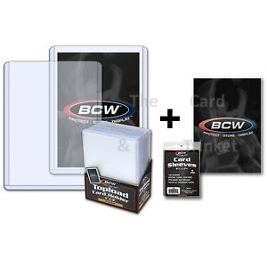 """25 BCW 20pt Premium Standard 3x4"""" Card Toploaders + SLEEVES Toploader Loaders"""