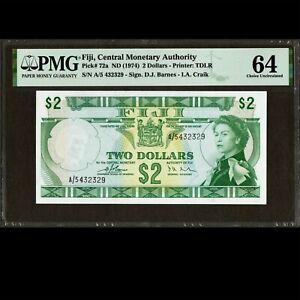 FIJI RESERVE BANK 2 DOLLARS 1974 PMG 64 CHOICE UNC P-72a Barnes & Craik