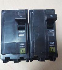 QOB230 Square D 30 amp bolt on breaker 120/240v 10kA  2 pole LOT OF 2