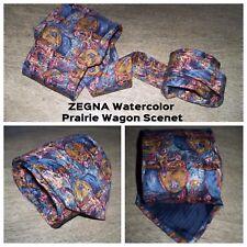 Ermenegildo Zegna Watercolor Multicolor Prarie Wagon Scene Men's Necktie TIE