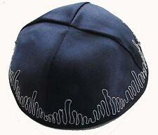 Jewish Kippah Yarmulke Blue plain satin w/ silver ornate designs around edges