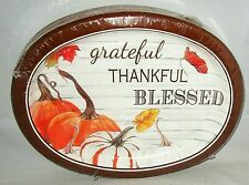 """THANKSGIVING Disposable Platters BLESSED PUMPKINS 20 ct  10"""" x 12"""""""