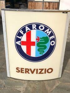 ORIGINAL ALFA ROMEO SIGN 1970 SERVICE GARAGE DEALER VINTAGE NEON AUTO MILANO OIL
