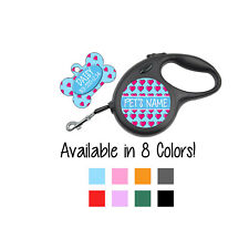 Cute Hearts Custom Pet Id Dog Tags/Retractable Leashes Personalized for Your Pet