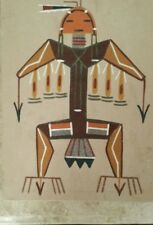 """VINTAGE SAND PAINTING """"BIG THUNDER"""" BY NAVAJO ARTIST """"ALFRED WATCHMAN""""!"""