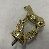"""Vintage Horse Brass Plated Metal Trophy Topper Lucky Horseshoe Riding 4"""" Tall"""