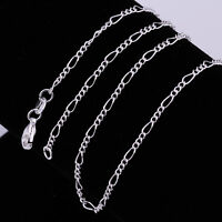 "5pcs 925 Sterling Silver Plated 2mm Figaro Chain Necklace 16"" 18"" 20"" 22"" 24"""