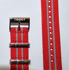 Original Tissot Quickster T095410A, T095417A Red / Gray Strap Band with Buckle