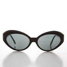 Black Frame Curved Cat Eye Sunglass 90s Retro with Glass Lens - Flo