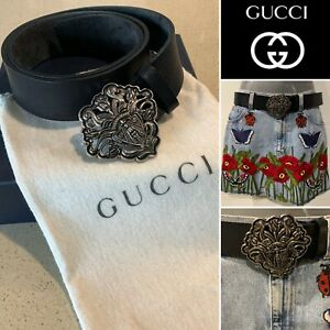 GUCCI Italy Authentic Silver Gucci Crest, Buckle Black Leather Belt Sz90cm/36ins