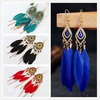 Tassel - Pierced Earrings Gypsy or Clip On Gold Chandelier Feather Boho Tribal