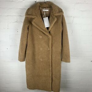 V by Very Longline Double Breasted Teddy Coat Ivory UK10 RRP£80