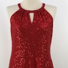 INC International Concepts Top Sz XL Red Sequins Keyhole Halter Neck Sleeveless