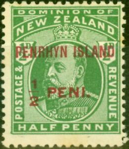 Penrhyn 1914 1/2d Yellow-Green SG19a No Stop after Island Fine Lightly Mtd Mint