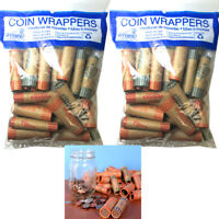 72 Rolls Preformed Assorted Coin Wrappers Tubes Nickels Quarters Dimes Pennies !