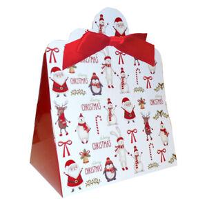 10 x Santa Snowman Reindeer Christmas Triangle Sweet XMAS Gift Boxes & Bows