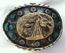 OLD Dead Pawn Carved Horse Navajo Belt Buckle, Turquoise, Sterling