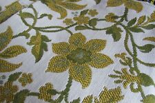 1960's NOS  HEAVY UPHOLSTERY FABRIC JACOBEAN CREWEL,GOLD?GREEN/BEIGE ,4 YDS.