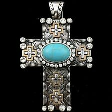 Western Cowgirl Rhinestone Turquoise Duo Color Cross Magnetic Closure Pendant