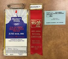 1984 USA OLYMPICS track & field delegate, ribbons, pins  letters to John Kelly