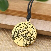 Find Your Road Pine Tree Necklace Charm Under The Mountain Camping Pendant