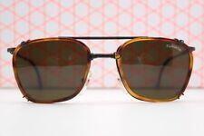 Sonnenbrille Brille  Vintage Fujiwara 100 schwarz braun mit Clip sunglasses NOS