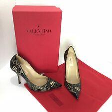 Valentino Garavani Black Leather Laser Cut Pointed Toe Pump Women's High Heels