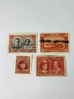 1900-1940s red vintage 4 postage stamps Canada King George, Naish Queen Victoria