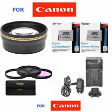 58MM 2x Telephoto Zoom Lens + CHARGER + BATTERIES for Canon Rebel EOS T3 T5 T3I