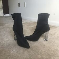 Nylon Ankle Boot Clear Heel