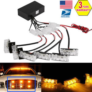 AMBER 6X 3 LED Strobe Flashing Lights Emergence Warning Car Grill Light Kit 12V